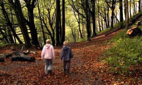 woodland children walking