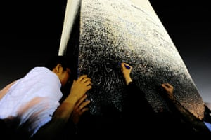 Hajj Pilgimage: Muslim pilgrims leave an autograph at Mount Arafat