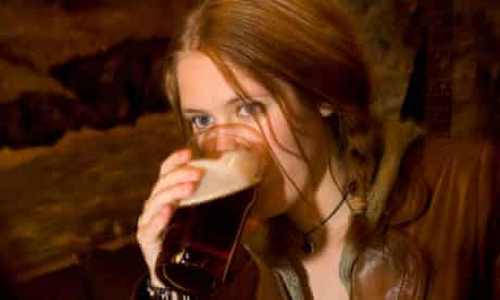 Woman drinking real ale