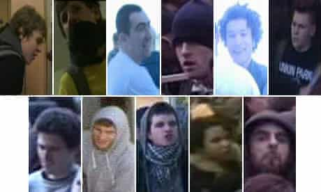 CCTV images taken at Millbank, where protesters smashed windows and threw missiles at police.