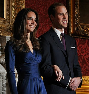 William's engagement: Prince William and his fiancee Kate Middleton pose for photographers