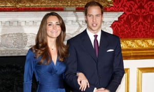 Prince William and his fiancee Kate Middleton pose for a photograph in St James's Palace, London.
