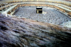 Hajj Pilgrimage: Muslim pilgrims perform the final walk around the Kaaba