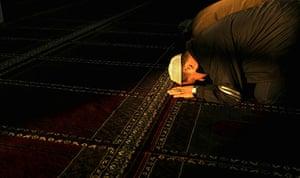 Eid al-Adha: A Muslim prays in a mosque in Maykop