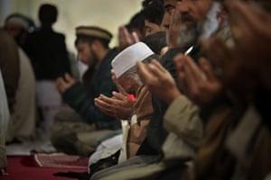Eid al-Adha: Afghan men pray inside a mosque during Eid al-Adha
