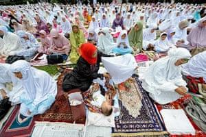 Eid al-Adha: Indonesian Muslims attend an Eid al-Adha