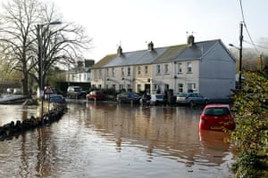 cornwall flooding: A severely flooded road in Lostwithiel