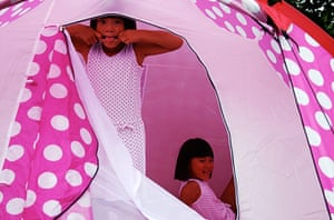 In pictures: material: girls in tent