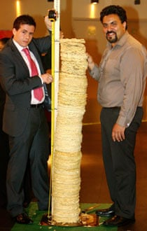 The world's tallest tower of poppadoms, at the Curry Lounge Nottingham.