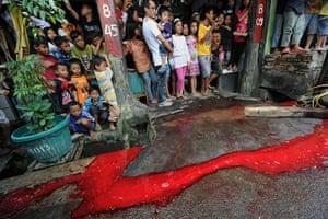 Eid al-Adha: Blood flows down the street while children watch