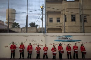 Eid al-Adha: A band of Arab Israeli youths wait to join a parade