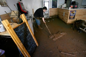 Cornwall Floods Update: Vince Reeves starts to clean up after the flooding in Lostwithiel, Cornwall