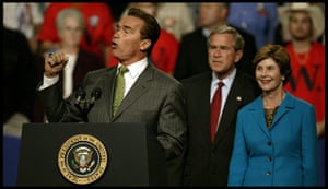 Arnold Schwarzenegger : Arnold Schwarzenegger addresses a rally with George W Bush