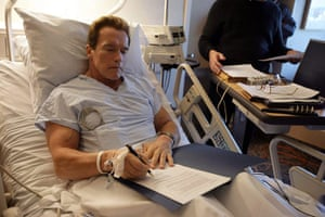 Arnold Schwarzenegger : Arnold Schwarzenegger works from his hospital bed in Los Angeles 2006