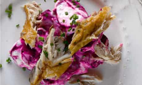 Roast beetroot, horseradish, mackerel