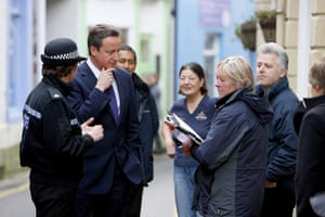 Cameron Visit Cornwall: PM Cameron speaks to residents near St Austell Flooding in Cornwall