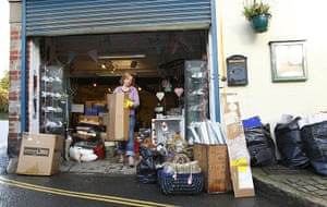 Cameron Visit Cornwall: The clean-up continues at Jessica Gregory's gift shop in Mevagissey