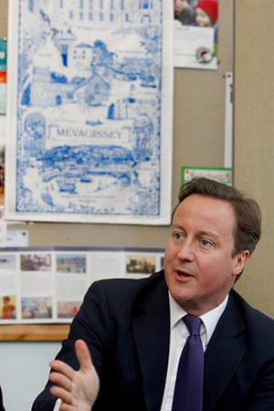Cameron Visit Cornwall: David Cameron during a visit to Mevagissey near St Austell
