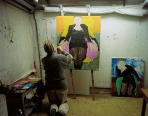 Sargy Mann: Sargy Mann painting Frances in the Black Coat with Pink Lining, Bungay 2007