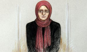 Artwork of Roshonara Choudhry, sitting in the dock at Old Bailey trial