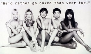 Nude supermodels in anti-fur campaign poster for Peta in 1994