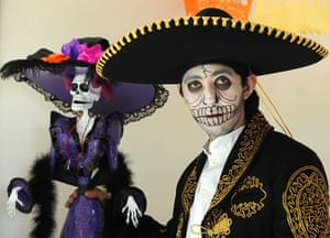 All Saints: Mexico City, Mexico:A man disguised as a skeleton