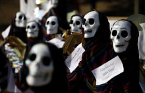 All Saints: Mexico City, Mexico: Figures with skull masks