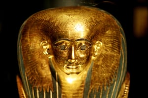 Book of the Dead: A detail of the mummy mask of Satdjehuty