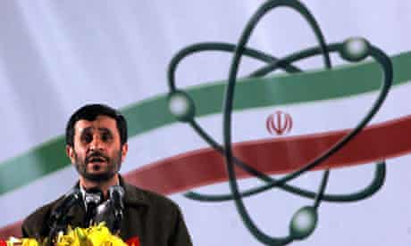Mahmoud Ahmadinejad, the Iranian president, speaks at the Natanz nuclear enrichment facility.