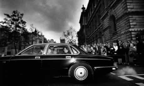 Margaret Thatcher leaving Downing Street in 1990.