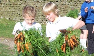 Pupils show off produce from their garden