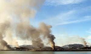 Smoke billows from Yeonpyeong island, near South Korea's border with North Korea
