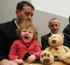 Daisy Gogarty yawns in the arms of Green party TD Paul Gogarty on 22 November 2010.
