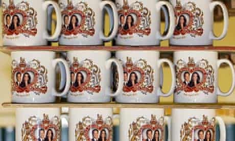 Mugs commemorating the forthcoming marriage of Prince William and Kate Middleton