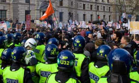 Riot police and student, Whitehall
