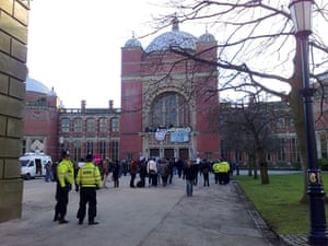 Pictures by students: Student protesters at the Aston Webb building at Birmingham University
