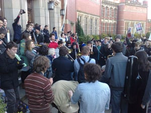 Pictures by students: Students play musical instruments at the Aston Webb building