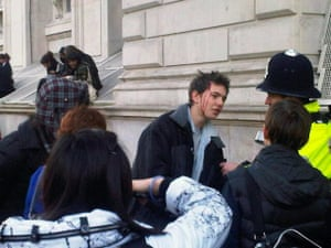 Pictures by students: An injured protester in London
