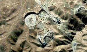 Satellite view of the Qom uranium enrichment site under construction in Iran