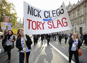 Student Protest Slogans : British students stage a protest in central London