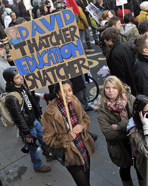 Student Protest Slogans : Students demonstrate against higher tuition fees