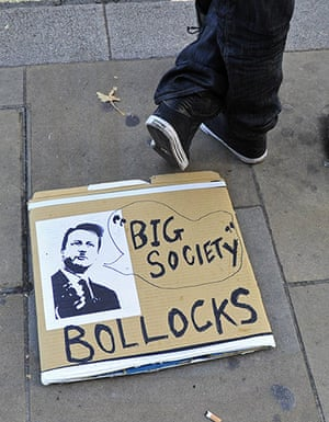 Student Protest Slogans : Placards are seen on pavements as British students protest in London