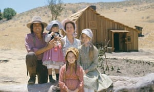 The Ingalls family in Little House on the Prairie, Melissa Gilbert as Laura at the front.