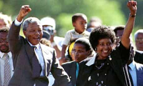 Nelson Mandela and his then wife, Winnie, after his release from prison on 11 February 1990