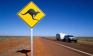 Kangaroo road sign on the Stuart Highway in South Australia