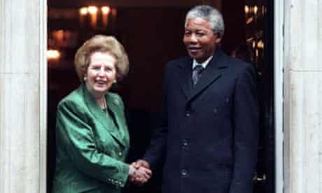 ANC leader Nelson Mandela and British prime minister Margaret Thatcher