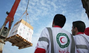 An Iranian Red Crescent shipment being loaded for the Gaza Strip