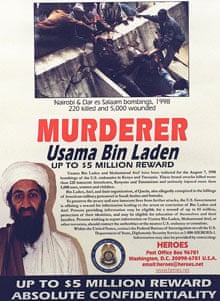 An Osama bin Laden wanted poster distributed by the US