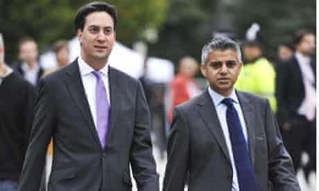 Khan with Ed Miliband at this year's Labour party conference.