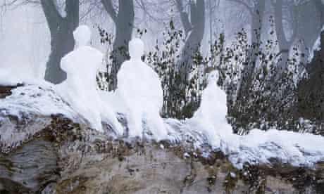 Snowmen at the Union Canal at Harrison Park, Edinburgh, by Joe Gordon
